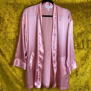 Victorias Secret Vintage Blush Pink Satin Robe OS